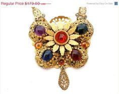 ON SALE Vintage Gold Filled Lavalier Necklace Rhinestone Art Nouveau Style