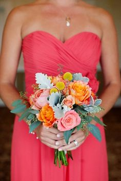 Coral bridal bouquet with gray accents,Twigs Floral Design. Can I just take a moment to say how much I LOVE this color?!?! Possible wedding colors maybe...?
