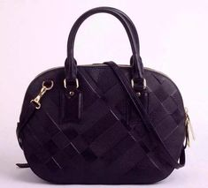 c4fc17db6f0 Burberry Small Orchard in Black Embossed Check Leather Bowling Bags,  Designer Purses, Bag Sale