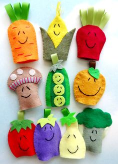 Vegetable Felt Finger Puppets Sewing Pattern - PDF ePATTERN. $4.99, via Etsy.