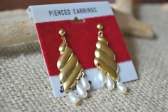 Vintage Earrings Goldtone and Faux Pearl by talkOfThetown on Etsy