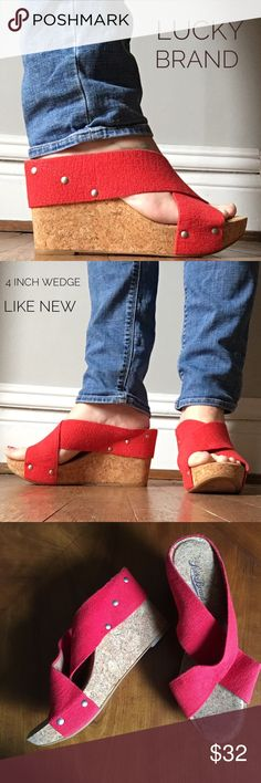 LUCKY 🍀 BRAND Miller cork wedges Rocking Red! Miller cork wedge elastic sandals by Lucky Brand. Easily paired with jeans or a dress- so tons of versatility- plus red is always fabulous! Easy slide on with a 4 inch wedge!  Only worn once!                                                🍀bundle in my closet for a fabulous discount.  🍀same day/ next day shipping.                         🍀pet free/ smoke free home Lucky Brand Shoes Wedges