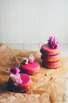 A recipe for mini lemon sour cream pound cake with beet glaze from Hummingbird High.