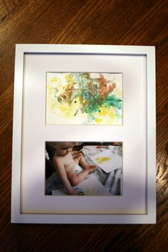 Great gift idea for grandparents. Take pictures while painting. In a double matted frame, include picture of him painting, plus his artwork!