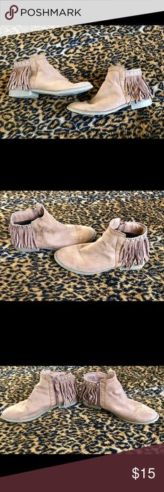 Fringe Booties No particular brand that I can find on the shoe, purchased from Target! Super cute and trendy. Still have lots of wear left! True to size. Shoes Ankle Boots & Booties