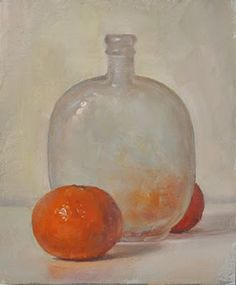 Worth reading the painting perceptions interview--  Still Life with Mandarins and Bottle, 3/21/2011, oil/linen, 7x5.5 inches, duane keiser.