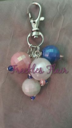 pink blue  white zipper pull / purse charm by FrecklesFlair, $6.00