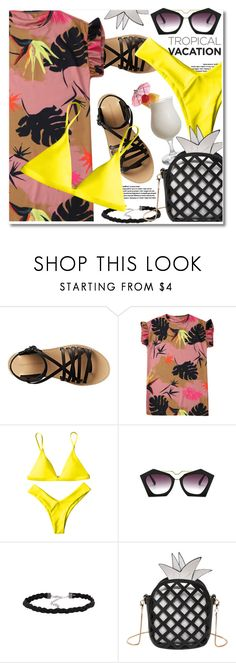 """""""Tropical"""" by paculi ❤ liked on Polyvore featuring Band of Outsiders, TIKI, Summer, casual and ruffledtops"""