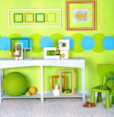 I like the picture frames inside the picture frame! Blue Green Rooms, Painting Inspiration, Room Inspiration, Kids Room Paint, Trends, Room Colors, My Favorite Color, Custom Framing, Playroom