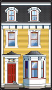 """it's a series of little houses from NFLD""""s Jellybean Row. Nova Scotia, Facade House, House Facades, Mosaic Windows, Bright Pictures, Newfoundland And Labrador, Art For Art Sake, Fairy Houses, Jelly Beans"""