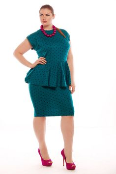 First Look at Plus Size Designer Jibri the Fall 2013 Collection - Plus Size Fall Dresses - Ideas of Plus Size Fall Dresses Plus Size Peplum, Plus Size Maxi Dresses, Plus Size Outfits, Plus Size Fall Fashion, Curvy Women Fashion, Autumn Fashion, Ladies Fashion, Maxi Dress With Sleeves, Peplum Dress