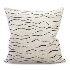 Wave, black throw pillow