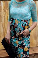 turquoise lace and high-waisted floral skirt  Erin Meschke design