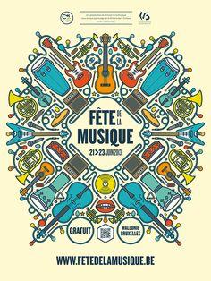 Fête de la musique in Belgium - Design & Art Direction of the event global identity (posters, flyers, ads…)