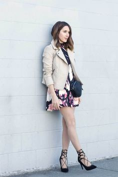 Showcase that nobody does off-duty quite like you do in a beige leather biker jacket and a black floral skater dress. Black suede pumps are guaranteed to bring a dash of refinement to your ensemble. Outfit 2016, Valentine's Day Outfit, Outfit Ideas, Fashion Night, Girl Fashion, Spring Fashion, Fashion Ideas, Floral Skater Dress, Skater Dresses