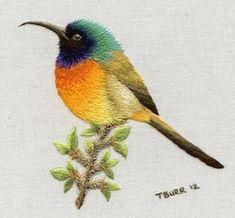 Wonderful Ribbon Embroidery Flowers by Hand Ideas. Enchanting Ribbon Embroidery Flowers by Hand Ideas. Embroidered Bird, Silk Ribbon Embroidery, Crewel Embroidery, Hand Embroidery Patterns, Embroidery Kits, Cross Stitch Embroidery, Machine Embroidery, Embroidery Designs, Pdf Patterns