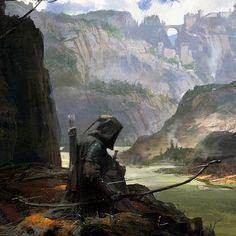 m Ranger Medium Armor Cloak Longbow River Valley Canyon Cliffs Monastery med High Fantasy, Fantasy Rpg, Medieval Fantasy, Dark Fantasy Art, Fantasy World, Fantasy Concept Art, Fantasy Character Design, Fantasy Artwork, Character Art