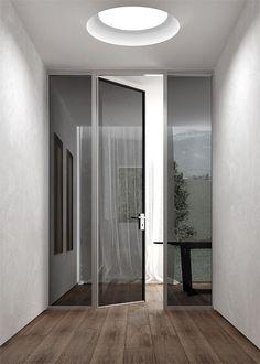 floor, walls, round skylight, door, sidelights