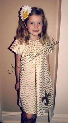 Saints Dress Gold Chevron Dress Peasant Dress by MyFourGirlsGifts