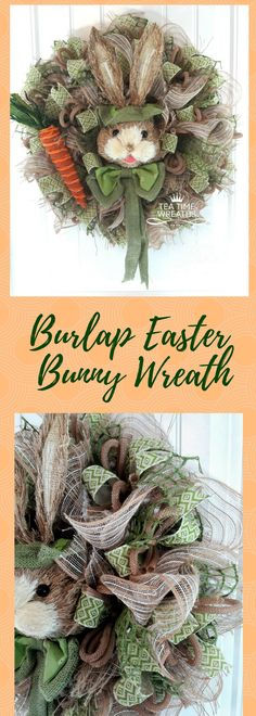 Rustic Burlap Bunny Head Wreath in Green with large orange carrot. A perfect way to celebrate the Easter Holiday with a wreath for front door. www.etsy.com/shop/teatimewreaths