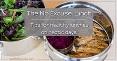 "The No Excuse Lunch FYI: super quick and really easy...with a little advanced planning u can have a different salad everyday 4 lunch...quick, easy and healthy! great 4 all the various kinds of working mom's (stay-at-home, 9-5 or ""crazy hours""...it will b especially great for us!)"