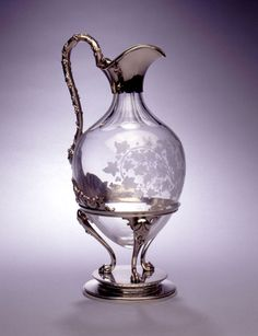 American silver mounted dessert wine jug with six matching glasses, circa 1865. Tiffany.