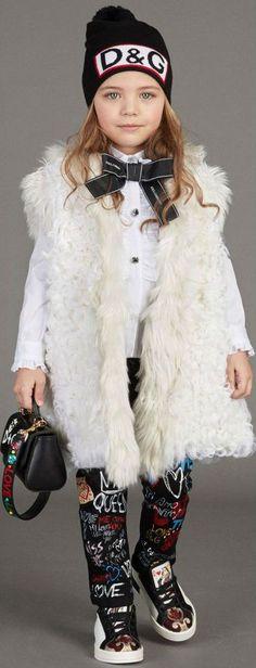 ON SALE !!!! Super Cute, Love this DOLCE & GABBANA Girls Mini Me Graffiti Jeans & Oversized Sweater Vest. #dolcegabbana #dgkids #minime #kidsfashion #kids #girl #sale