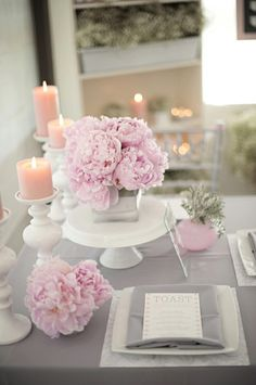 Interesting ideas for table decoration as a wedding decoration table decoration as wedding decoration pink peonies candles delicate tableware. Pink And White Weddings, Gray Weddings, Summer Weddings, Wedding Centerpieces, Wedding Decorations, Simple Centerpieces, Shower Centerpieces, Candle Centerpieces, Peonies Centerpiece