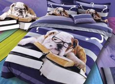 Spectacled Dog and Books Print 4-Piece Cotton Duvet Cover Sets from #beddinginnreviews #beddingsets