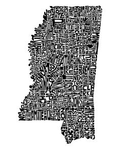Mississippi map art typography print 11x14 customizable by CAPow