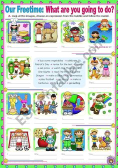 Our Freetime: What are you going to do this weekend? - ESL worksheet by Preschool Learning Activities, Preschool Worksheets, Kids Learning, Time Activities, English Teaching Materials, Teaching English, English Grammar, Grammar And Vocabulary, Grammar Worksheets