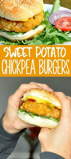 Sweet Potato Chickpea Burgers Meal planning for the week? You totally need these sweet potato chickpea burgers! Aside from being healthy, vegan, and gluten-free, these tasty freezer-friendly veggie burgers are just plain delicious! Good Healthy Recipes, Whole Food Recipes, Vegetarian Recipes, Dinner Recipes, Healthy Chickpea Recipes, Chickpea Meals, Vegan Chickpea Burger, Veggie Meals, Vegetable Recipes
