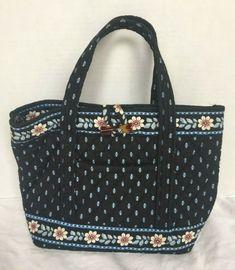 926e8e4064486 Vera Bradley Alpine Black Purse Toggle Closure Floral Handbag Blue White  Pink  VeraBradley  Satchel