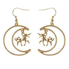 $12.97---18K Gold Plated Beads Sided Moon With Golden Unicorn horse Women Long dangle Earrings