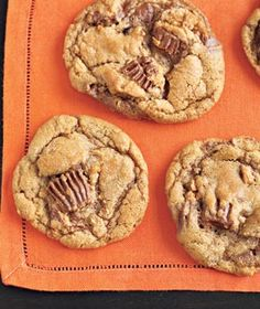 Peanut Butter-Cup Cookies|These easy cookies are anything but ordinary—chopped peanut butter cups mixed into the batter add a bit of chocolate and nuttiness to every bite. The cookies can be baked and stored at room temperature in an airtight container up to 3 days in advance.
