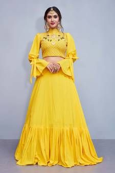 4431602377e70 Buy Yellow embroidery art silk designer ethnic lehengas with matching  blouse crop-top-lehenga online from Mirraw