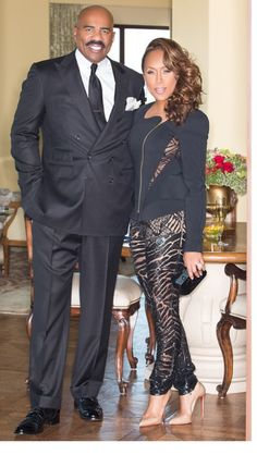 Marjorie and Steve Harvey. Celebrity Fashion Looks, Celebrity Look, Celebrity Couples, Steve Harvey Wife, Lori Harvey, The Lady Loves Couture, Love Couture, Majorie Harvey, Stylish Couple