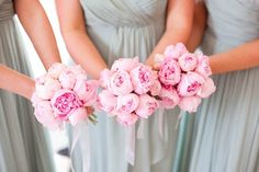 pale mint bridesmaids dresses and pink peonies