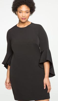 Plus Size Little Black Dress - Plus Size Flounce Sleeve Shift Dress