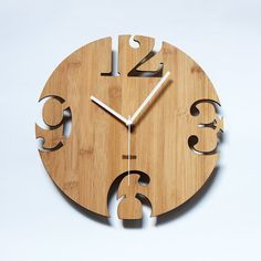 Unique Bamboo Wall Clock - Numeric Cutter