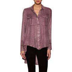 Free People Feel It Around Gauze One Of The Guys Top ($59) ❤ liked on Polyvore featuring tops, multi, button front tops, purple top, free people tops, gauze tops and woven top
