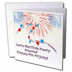 """Edmond Hogge Jr 4th Of July - 4th Of July Design with white background - Greeting Cards-12 Greeting Cards with envelopes by 3dRose. $15.95. 4th Of July Design with white background Greeting Card is a great way to say """"thank you"""" or to acknowledge any occasion. These blank cards are made of heavy duty card stock with a gloss exterior and a matte interior for smudge free writing. Cards are creased for easy folding and come with white envelopes. Available in sets of 6 and 12."""