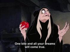 Queen Grimhilde as the old peddler woman in Snow White