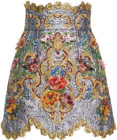 Dolce & Gabbana High Waisted Floral Skirt