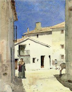 A Street in Denia, Spain - Childe Hassam
