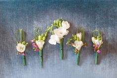 Boutonniere inspiration: freesia & filler flowers