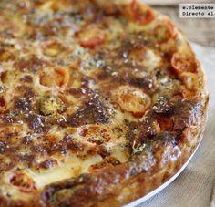Tarta salada de mozzarella, tomates y sardinas. Receta