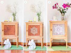 DIY | MESA DE LUZ RECICLADA : Aires de Bohemia Diy Table, End Tables, Instagram Posts, Furniture, Nightstands, Home Decor, Ideas, Shape, Recycled Furniture