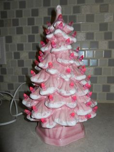 "Vintage 12"" Pink Ceramic Christmas Tree"