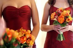 AriaDress bridesmaid dresses in dark red silk shantung.  Love the flowers perfect colors for fall!